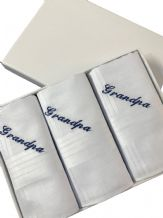 3 x Gents Personalised Handkerchiefs, Gift Boxed